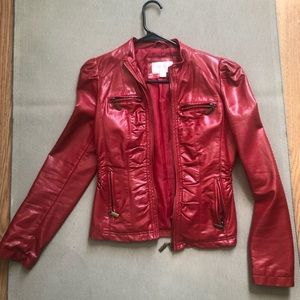 Faux-Leather Jacket (Red)